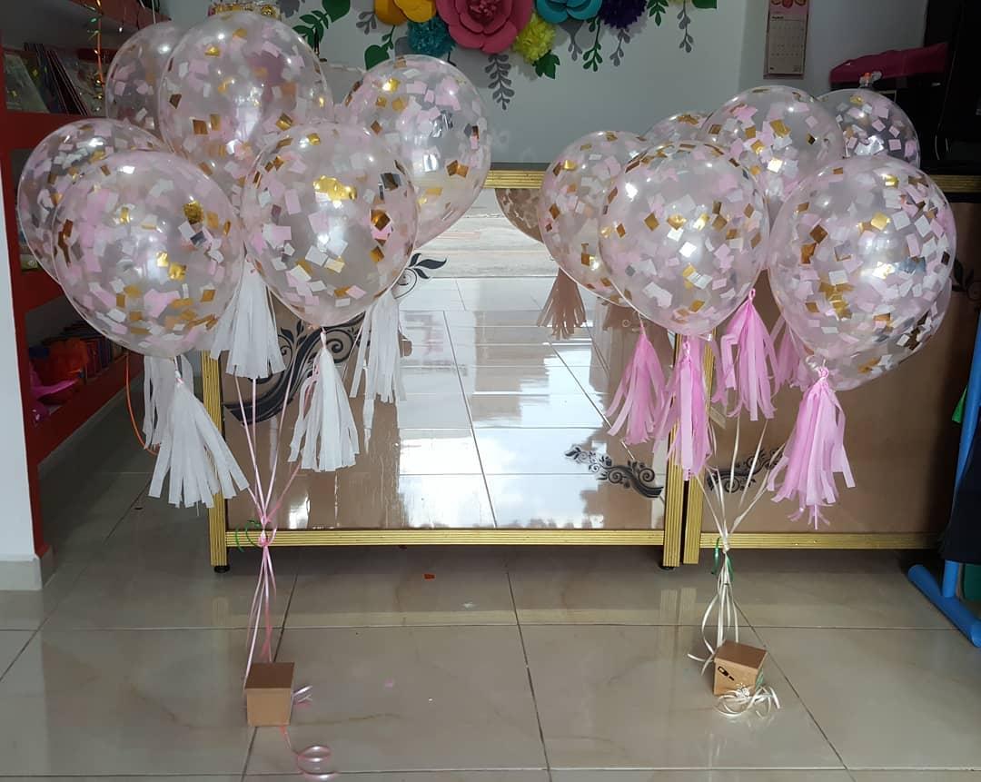 adornos para mesas con globos para baby shower
