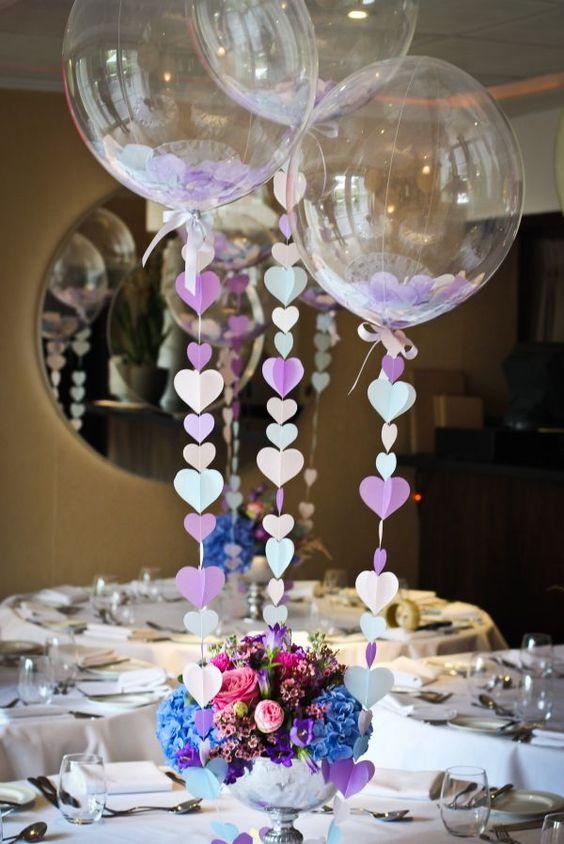 centros de mesa con globos para cumpleaños adultos