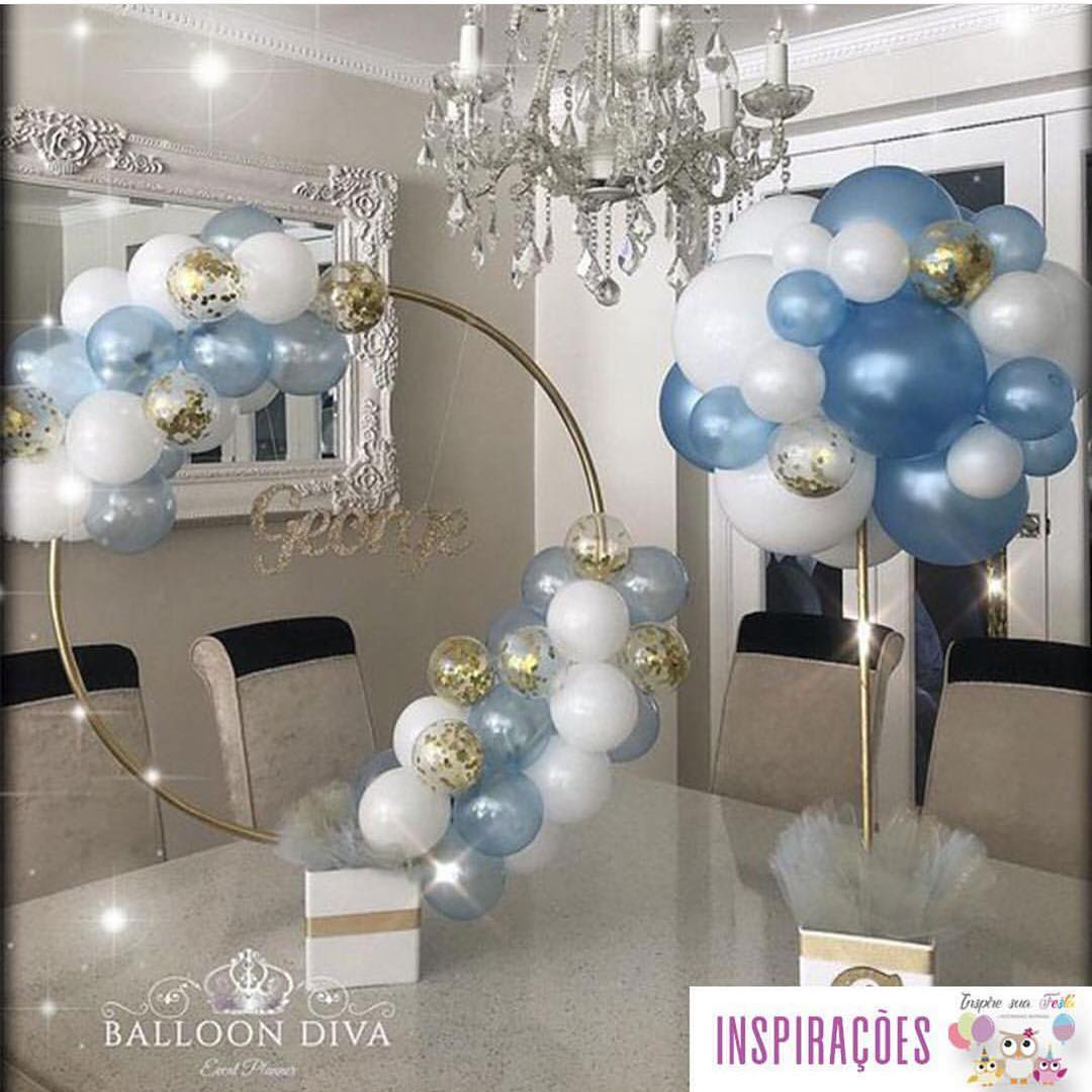 centros de mesa con globos y hula hula