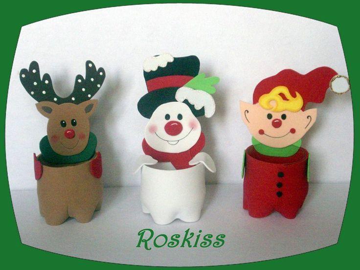 dulceros navideños con botellas de plastico