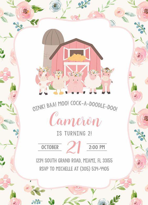 invitaciones granja de zenon para niña
