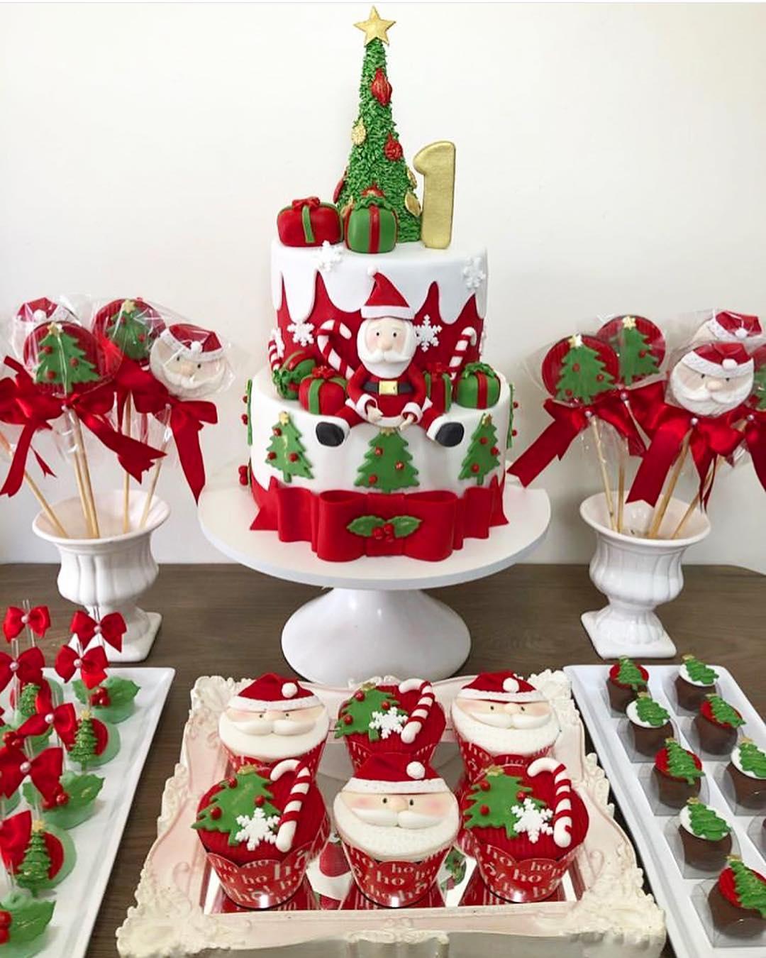 tarta para fiesta tematica de navidad