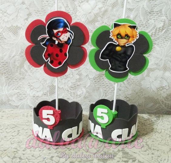 centros de mesa de ladybug y cat noir