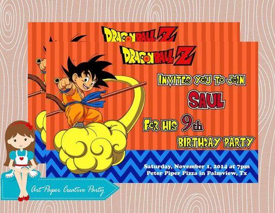 invitaciones de dragon ball z