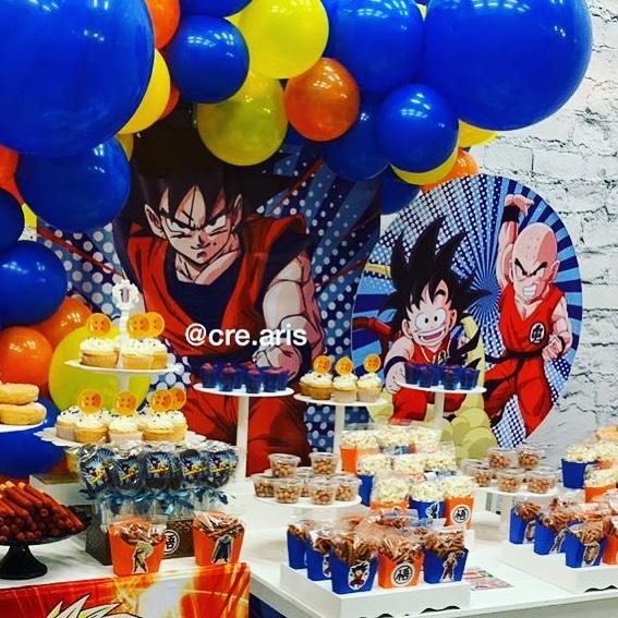 mesa de dulces fiesta de dragon ball para niño