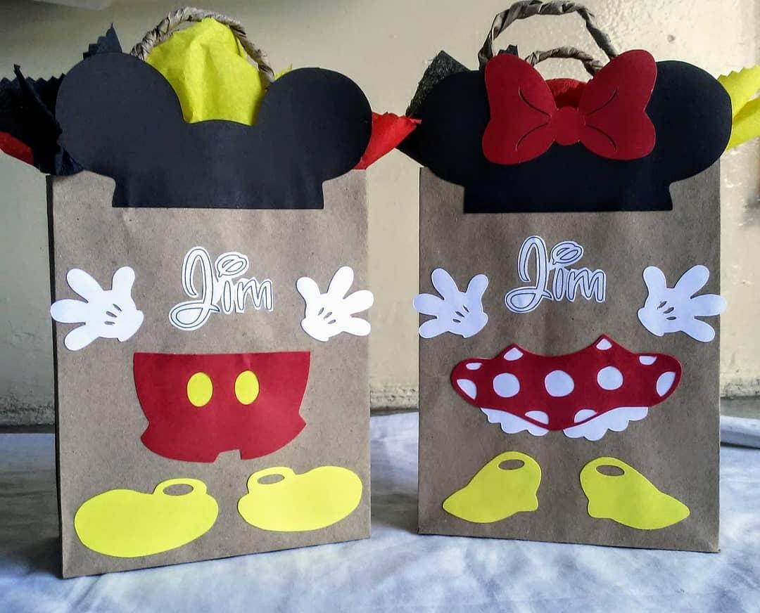 bolos de minnie con bolsas de papel