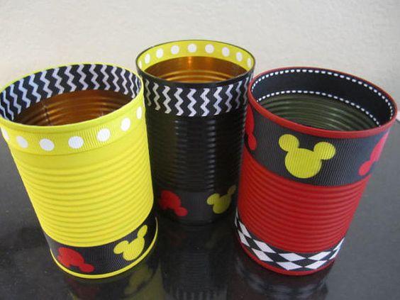 dulceros de mickey mouse con latas de leche