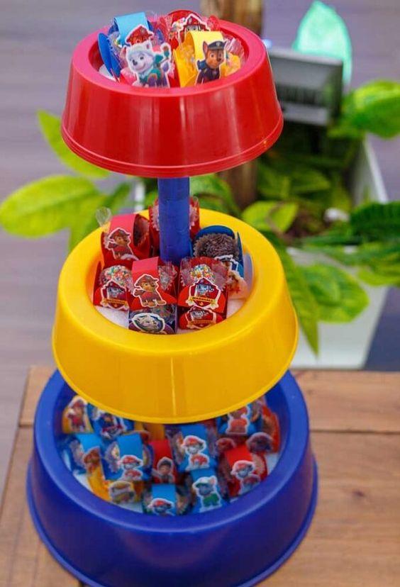 mesa de dulces paw patrol sencilla