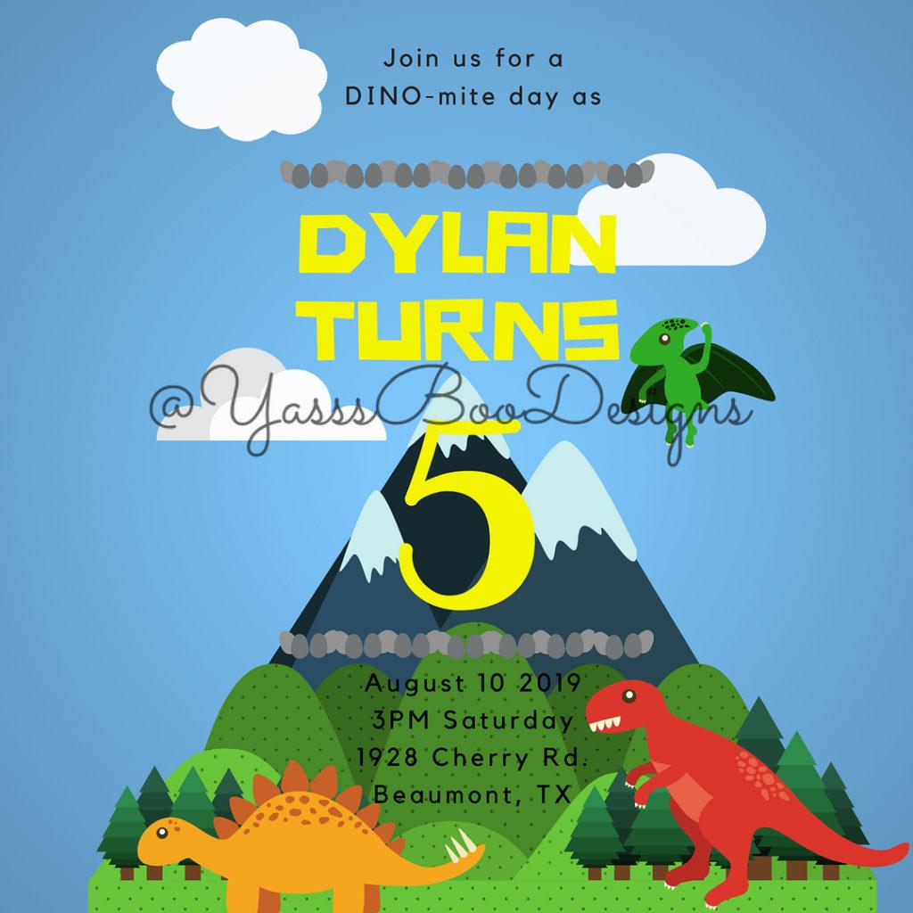 invitacion de fiesta de dinosaurio