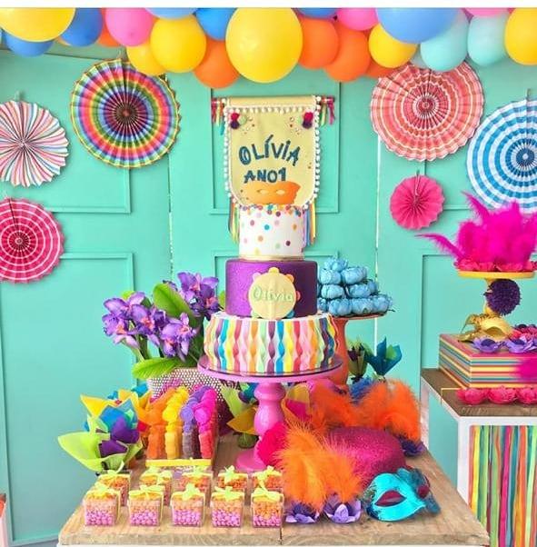 mesa de postres de carnaval